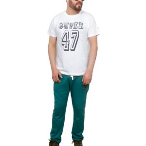 White SUPER-47 cotton lycra prime tee by HF
